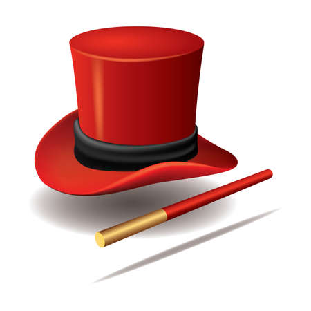 Ilustración de magician hat with wand - Imagen libre de derechos