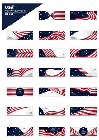 Ilustración de set of american flag banners - Imagen libre de derechos