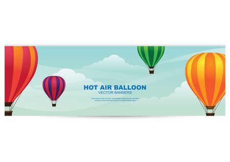 Illustration pour hot air balloon banner - image libre de droit