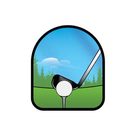 Ilustración de golf club with ball on tee - Imagen libre de derechos