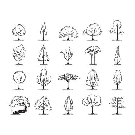 Ilustración de A set of trees illustration. - Imagen libre de derechos