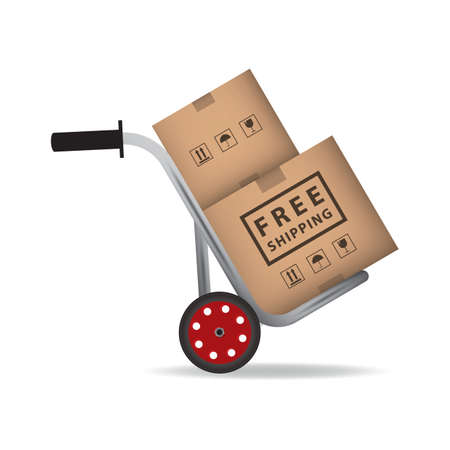 Illustration for hand truck with cardboard boxes - Royalty Free Image