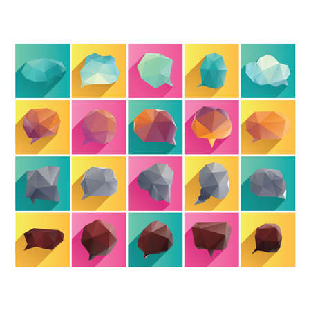 Illustration pour collection of geometric speech bubble - image libre de droit