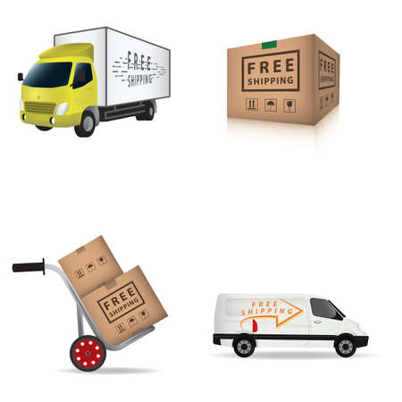 Illustration for free shipping collection - Royalty Free Image