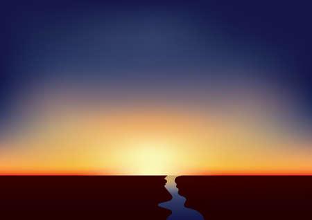 Ilustración de sunset over the river - Imagen libre de derechos