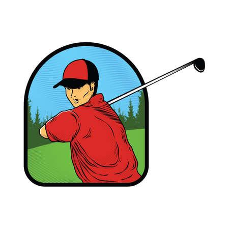Ilustración de man with golf club - Imagen libre de derechos