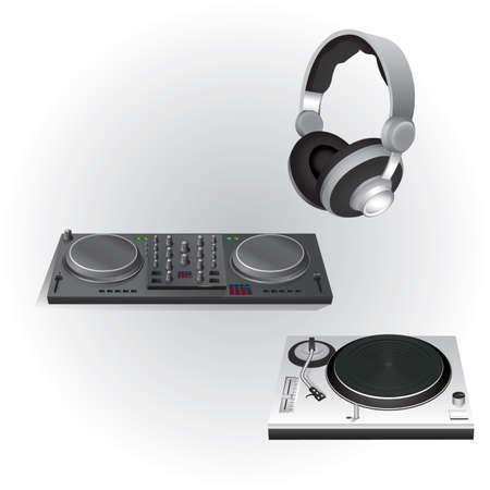 Illustration pour dj mixer turn table and head phones - image libre de droit