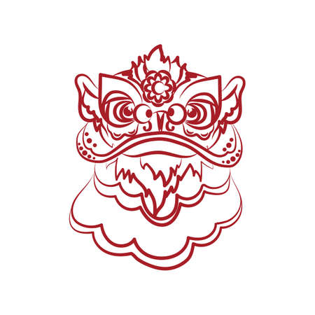 Ilustración de Lion dance head - Imagen libre de derechos