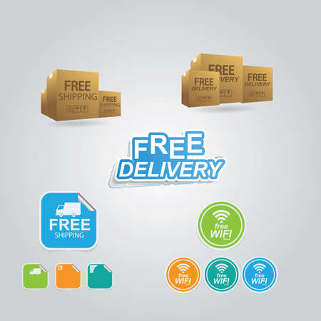 Illustration for collection of logistic elements - Royalty Free Image