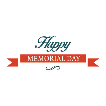 Illustration for memorial day label - Royalty Free Image