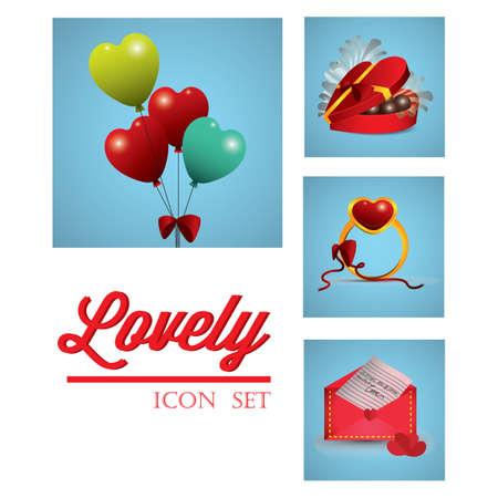 Illustration pour romantic icon set - image libre de droit