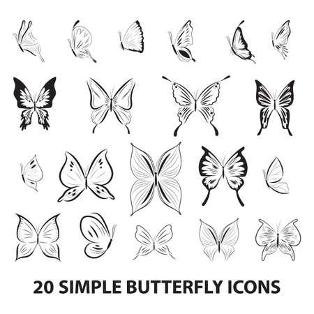 Ilustración de butterfly icon set - Imagen libre de derechos