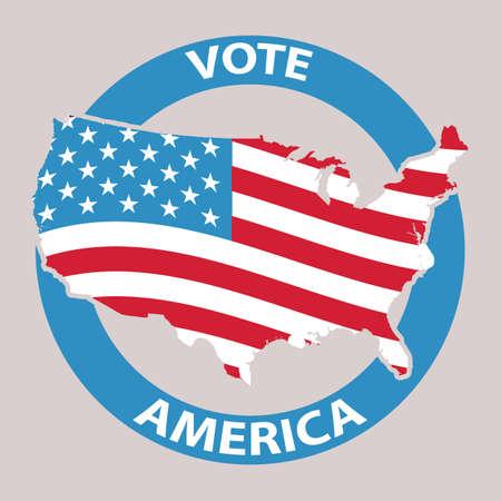 Illustration pour USA vote label - image libre de droit