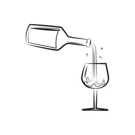 Ilustración de A wine pouring into a glass illustration. - Imagen libre de derechos