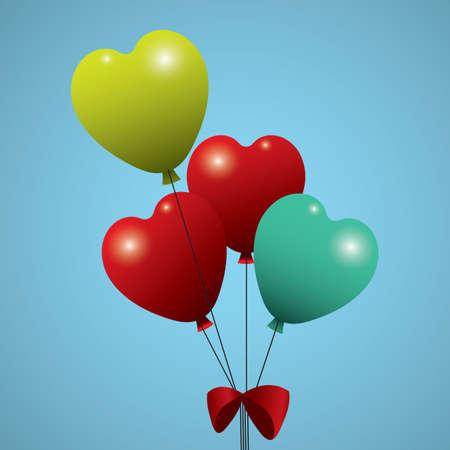 Illustration pour heart shaped helium balloons - image libre de droit