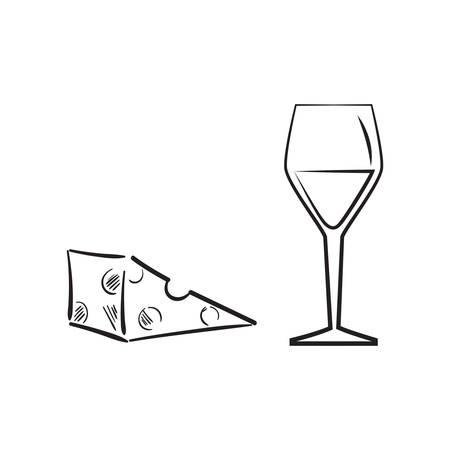 Ilustración de A cheese with a glass of wine illustration. - Imagen libre de derechos