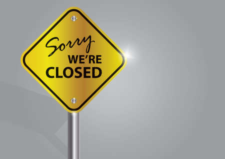Illustration for sorry we are closed signboard - Royalty Free Image