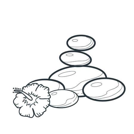 Ilustración de flower and basalt stone - Imagen libre de derechos
