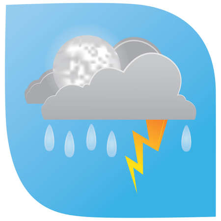 Illustration for rainfall with lightning clouds and moon - Royalty Free Image