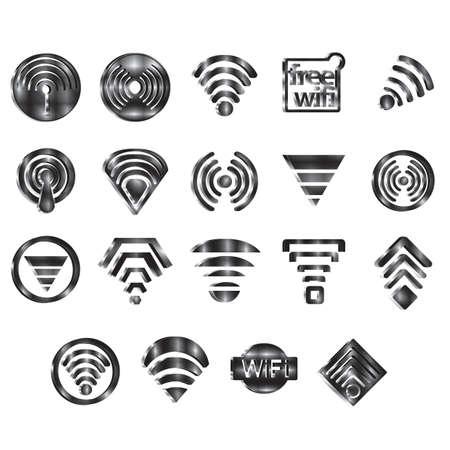 Illustration pour set of wifi icons - image libre de droit