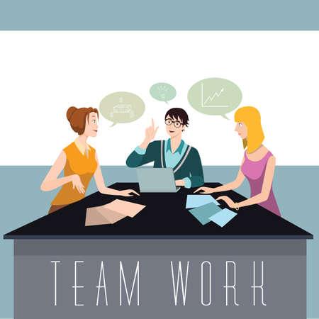 Illustration pour Team brainstorming an idea - image libre de droit