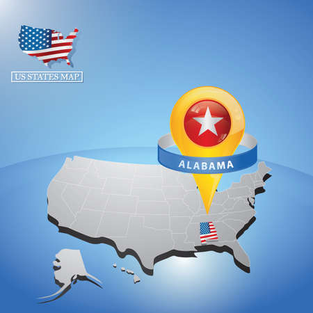 Illustration pour alabama state on map of usa - image libre de droit