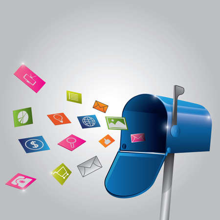 Illustrazione per Envelopes and various concepts of icons flying out from mailbox - Immagini Royalty Free
