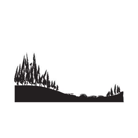 Illustration pour silhouette of trees on a hill - image libre de droit