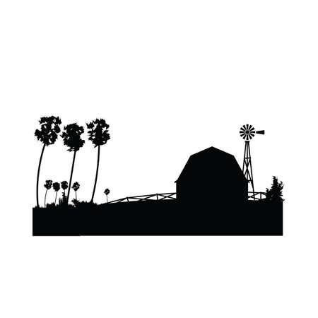 Ilustración de silhouette of farmhouse with a windmill - Imagen libre de derechos