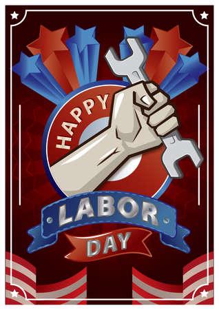 Illustration pour A happy labor day poster illustration. - image libre de droit