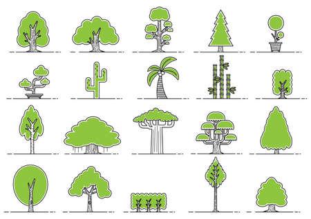 Illustration pour collection of various tree icons - image libre de droit