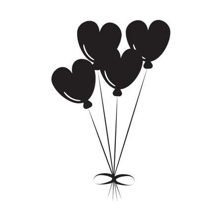 Illustration pour heart shaped balloons - image libre de droit