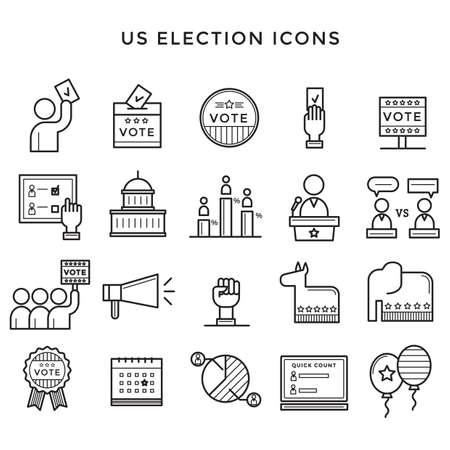 Illustration for US election icons illustration. - Royalty Free Image