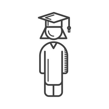 Ilustración de student with mortarboard - Imagen libre de derechos