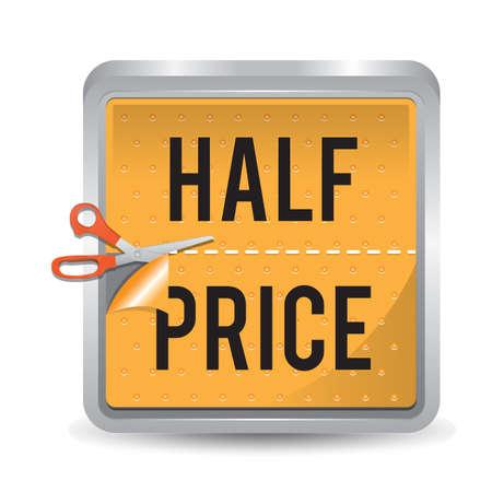 Ilustración de half price sticker - Imagen libre de derechos
