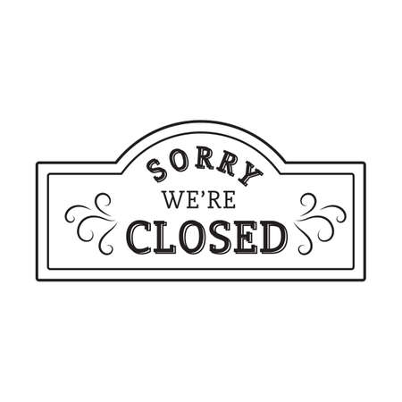 Illustration for sorry we are closed label - Royalty Free Image