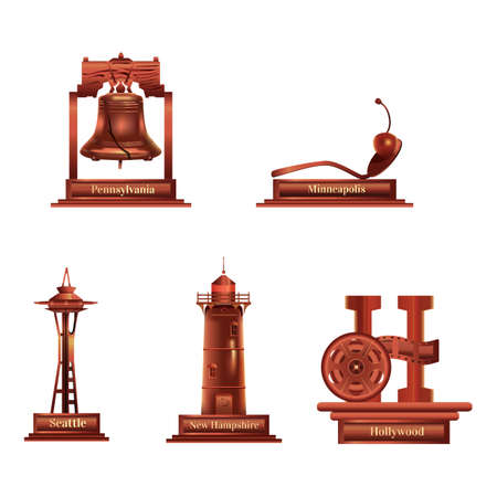Illustration for collection of usa landmarks - Royalty Free Image