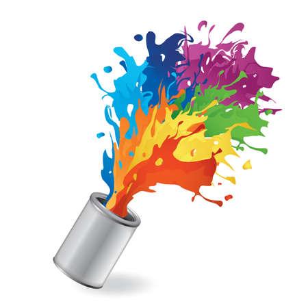Ilustración de bucket with paint splash - Imagen libre de derechos