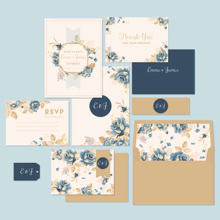 Illustrazione per Wedding invitation and thank you card - Immagini Royalty Free