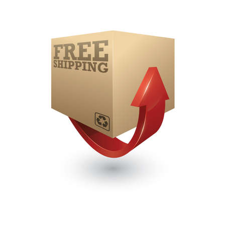 Illustration for cardboard box with arrow - Royalty Free Image