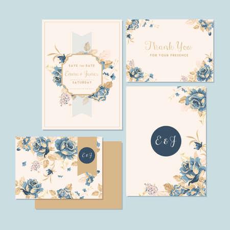 Illustration pour wedding invitation and thank you card - image libre de droit