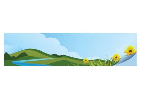 Ilustración de A landscape banner illustration. - Imagen libre de derechos