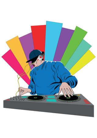 Illustration pour dj mixing a turntable - image libre de droit