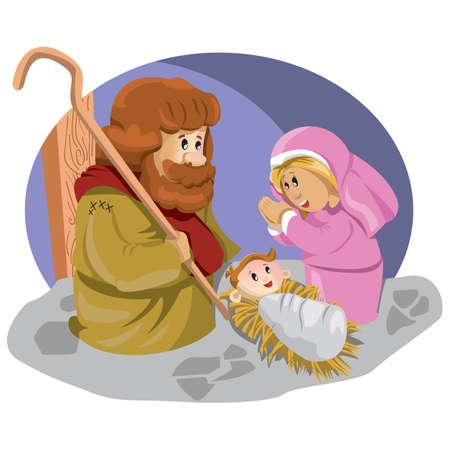 Illustration pour baby jesus in manger - image libre de droit