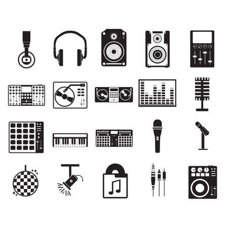 Illustration pour collection of music icons - image libre de droit