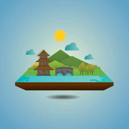 Illustration pour pagoda landscape - image libre de droit