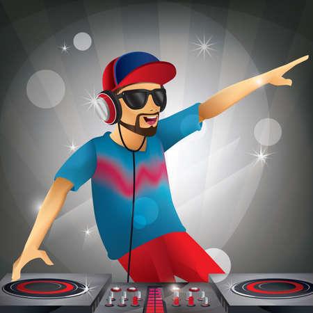 Illustration pour dj playing music - image libre de droit