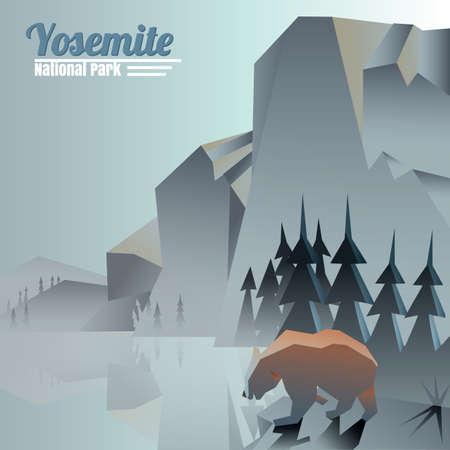 Illustration pour yosemite national park - image libre de droit