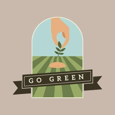 Illustration pour go green banner - image libre de droit