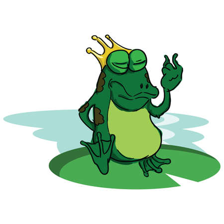 Illustration for frog wearing crown - Royalty Free Image